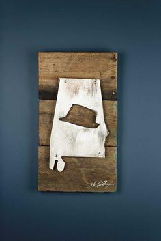 Alabama Fedora Reclaimed Wood & Shaped Metal Art