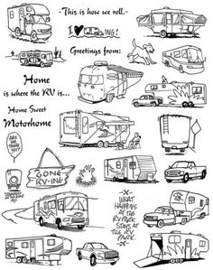 Unmounted-Rubber-Stamp-Sheets-Campers-Camping-Motorhome-RV-Stamps-Vacation