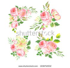 Delicate watercolor bouquet of roses - buy this illustration on Shutterstock & find other images.
