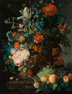 "Jan van Huysum : ""Still Life with Flowers and Fruit"" (1700-1740) - Giclee Fine Art Print"