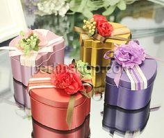 Hochzeit Süßigkeitkasten, mit Satinband, Katze, Spritzlackierung, gemischte Farben, frei von Nickel, Blei & Kadmium, 68x56x33mm