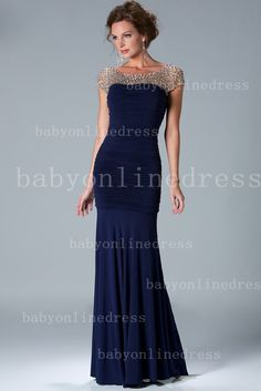 2013 Sexy Cap Sleeves Navy Blue Crystal Bead Chiffon Pleated Mermaid Mother of the Bride Dress K6037_2013 Mother of the Bride Dress_Mother o...