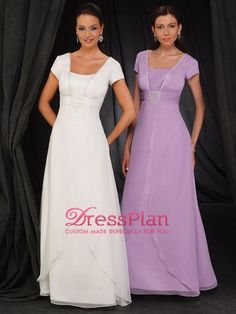 Graceful Short Sleeves Square neckline Empire Waist Full Length A-line Mother of the Brides Dresses