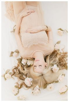 Ethereal maternity photo laying down with flowers in hair. Maternity portrait in sheer lace - Motherhood & Child Photos Maternity Photography Poses, Maternity Poses, Maternity Portraits, Romantic Maternity Photos, Maternity Pictures, Pregnancy Photos, Spring Maternity, Flowers In Hair, Glamour Photography