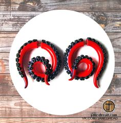 Tentacles fake gauge earrings - red black - hand-made polymer clay stud earrings on Etsy, $27.50