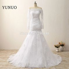 7464989e26d New Arrival Wedding Dress Real Photos Sexy Off The Shoulder Full White Bridal  Dresses Appliques Mermaid Floor Length Train Dress-in Wedding Dresses from  ...