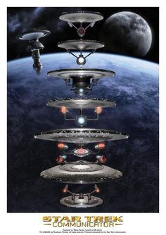 The evolution of Star Trek ships. (The Enterprise-A will always be my favorite. <3)