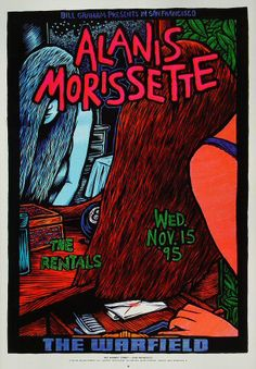 Alanis Morissette Bill Graham Presents Poster BGP133 Alanis Morissette The Rentals  11/15/1995 Artist: John Howard 13 x 19 inches