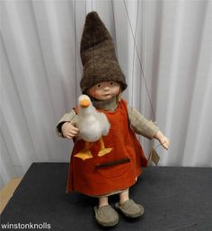 GERMAN HAND MADE INTERIA MARIONETTEN PUPPET GIRL WITH GOOSE  **LOOK***