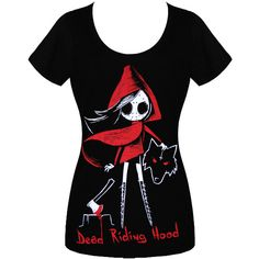 AKUMU INK DEAD RIDING HOOD SCOOP NECK T SHIRT ($26) ❤ liked on Polyvore featuring tops, t-shirts, shirts, scoop-neck tees, scoop neck tee, scoop neck t shirt, hooded top and hooded shirt