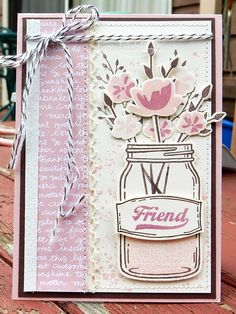 Stampin Up Jar of Love friend card by Kim Kim's Stamping Spot: JAI #322 Just add a colour combo 2016-17 annual catalogue