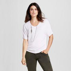 Women's Short Sleeve Knit Dolman Tee White XS - Mossimo
