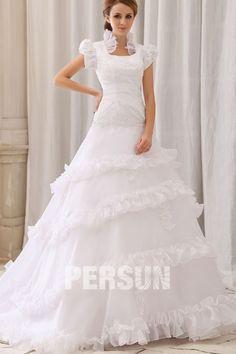 Court train White Royal Cowl Short sleeve Church Wedding gown [WBCD1683] - PersunMall.com