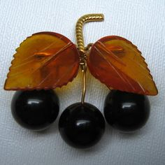 vintage bakelite pin CHERRIES,