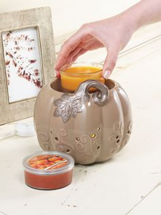 Taupe Pumpkin Scenterpiece with timer for use with Meltcups (not included)