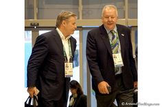 Brett Gosper (left) and Bill Beaumont of World Rugby arrive at the IOC Session on Aug. 3 (ATR)