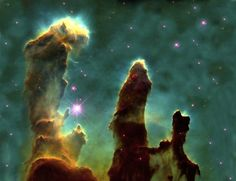 Pillars of Creation in the Eagle Nebula. So, so beautiful.
