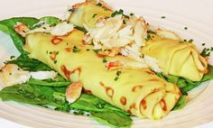 Asparagus and Parmesan Crepes with Maine Crab