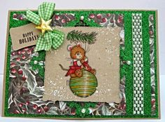 Dream Laine: Spectrum Noir Tutorial - Color a Christmas Bauble 'Makey Bakey Mice' Stamp and Sentiment - 'Trimming the Tree' from Crafter's Companion. Spectrum Noir markers used: Bauble:  CT1, CT2, CT3, CT4, LG1, LG2, LG3, LG4, LG5, IG3, IG4 Branch:  LG1, LG2, LG3, LG4, LG5, IG4 Fur:  TN2, TN3, TN4, TN5 Coat:  CR7, CR8, CR9, CR10, CR11, DR7 Cheeks and Ear Detail:  CR1, CR3, CR4 (small touch of white pencil and glitter detail)