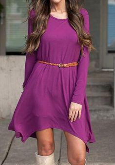 Purple Plain Belt Round Neck Streetwear Cotton Blend Mini Dress
