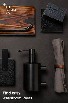 Architects: We make specifying matching restroom products for office, hotel, airport, museum and public bathroom spaces easy. Small Dark Bathroom, Dark Bathrooms, Public Bathrooms, Washroom Design, Bathroom Interior Design, Wc Design, Design Ideas, Commercial Bathroom Ideas, Wall Mounted Soap Dispenser