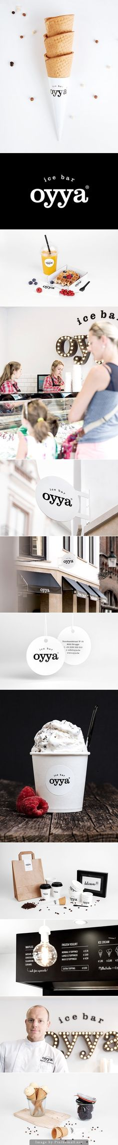 Oyya is an ice-cream bar in the centre of Bruges where the ice cream is produced fresh every day. On a daily basis the ice-cream maker chooses 28 delicious ice cream recipes. Skinn was consulted to elaborate the complete concept, from name to website, fro