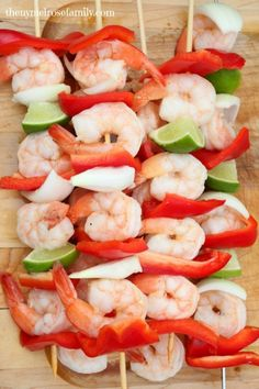 Lime Tequila Shrimp Kabobs with Red Peppers . . .