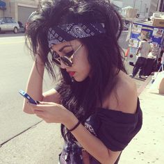 Cool hair bandana look for Halloween rocker chick