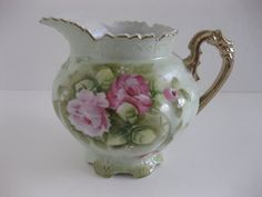 Large Lefton Shabby Chic Green & Pink Floral by MyLittleSomethings