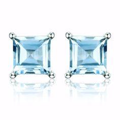 Ice Blue Genuine Topaz Princess Cut 0.7 CT IOBI Precious Gems Stud Earrings