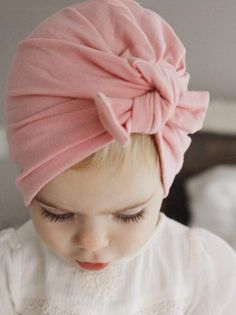89b59b64fa4 Retro Bowknot Beanie girls bow hat baby pink cap Baby Girl Hats