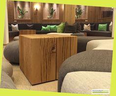 #Couchtisch #Eiche #Holzblock auf Rollen. Tische für Atelier, Loft, Lobby und Empfangsbereich vom http://www.holzmoebelkontor.de.