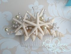 Beach Wedding Starfish Hair Accessory Comb (Blue Starfish Style). Made to Order Custom Details