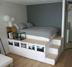 Platform Storage Bed storage Ikea 8 DIY Storage Beds to Add Extra Space and Organization to Your Home Diy Storage Bed, Ikea Diy, Interior, Home, Home Bedroom, How To Make Bed, Diy Platform Bed, Under Bed Storage, New Room