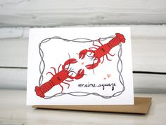 Valentine card. Lobster love card for your Maine squeeze