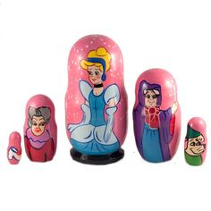 This is stacking nesting doll painted on base of cartoon film Cinderella This matryoshka nested doll is painted with tempera paints and finished with fine lacquer