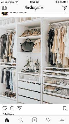Dulapuri idei Closet Designs, Ikea Pax Closet, Ikea Pax Wardrobe, Ikea Closet Storage, Glass Wardrobe, Wardrobe Closet, Bedroom Wardrobe, Storage Shelves, Storage Room