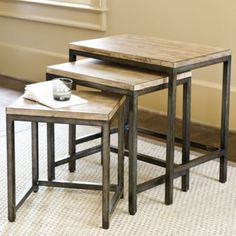 "Durham Nesting Tables | Ballard Designs  Large: 24 1/4""H X 24""W X 16""D w/22 3/8""H Clearance  Medium: 21 1/4""H X 20""W X 14 3/4""D w/19 1/4"" Clearance  Small: 18 1/4""H X 16""W X 13 3/8""D w/16 1/4"" Clearance"