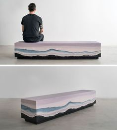 Designer Fernando Mastrangelo has created the Escape Collection, a group of modern furniture pieces, like this bench, that are made using hand-dyed sand and silica to create simple forms that look like a three-dimensional landscape painting.