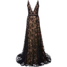 Marchesa Embroidered Chantilly Lace Gown ($6,795) ❤ liked on Polyvore featuring dresses, gowns, black gown, black beaded gown, lace overlay dress, lace dress and black dress