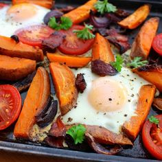 One Pan Breakfast which is perfect for the weekend, I love having a late and luxurious breakfast on the weekends, but I'm also allergic to washing dishes!! So with both of these in mind this dish is perfect! Heavy on the flavour and light on the washing up!  2 small or one large sweet potato (roughly 200g) 4 slices of back bacon, sliced into strips 1 small red onion, sliced into bit 1 beef tomato 2 large eggs 2 tsp coconut oil Salt & Pepper Parsley to...