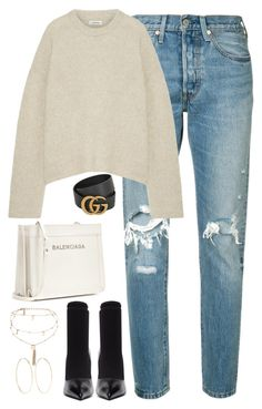 """""""Untitled #4449"""" by magsmccray ❤ liked on Polyvore featuring Levi's, Gucci, Totême, Balenciaga, Ettika and Magda Butrym"""