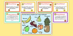 This resource features a colourful set of maths money challenge cards! Can your children do the sums and find the answers, using the fruit image mat included? Polish To English, Money Problems, Fruits Images, Money Challenge, Free Teaching Resources, Create Yourself, Challenges, Math, Cards