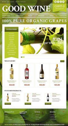 #Wordpress Good #Wine store theme. #eCommerce. $115. #responsiveDesign