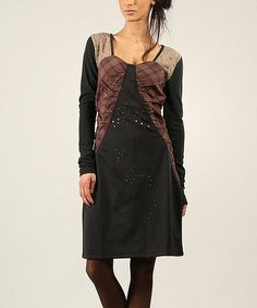 Look what I found on #zulily! Anthracite & Bordo Plaid Lace Embellished A-Line Dress #zulilyfinds