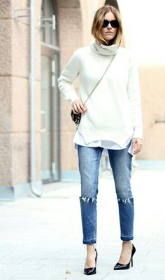 Chunky long turtleneck with distressed and ripped jeans worn with heels and a cross body bag... love it.