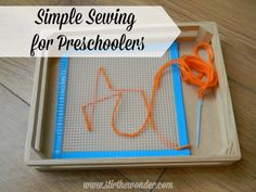 Sewing For Kids Gifts Simple Sewing for Preschoolers - Simple Sewing for Preschoolers! All you need is a few supplies to create your own simple sewing tray, most of which you probably have already! Preschool Kindergarten, Preschool Learning, Teaching Kids, Kids Learning, Learning Games, Sewing Projects For Kids, Sewing For Kids, Montessori Practical Life, Creative Curriculum