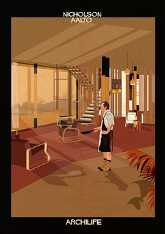 Archilife by Federico Babina. Federico Babina imagines film stars living inside famous architect-designed houses Architect Design House, House Design, Comic Layout, Alvar Aalto, Hollywood Icons, Hollywood Stars, High Art, Croquis, Urban Art