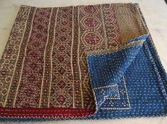 Throw Kantha Quilt Ajrakh Print Kantha Quilt Bedding Quilt Gudri Ralli Beds 005 #Handmade