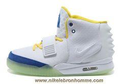 innovative design 46fa4 cde5b Hommes Chaussures Blanc Bleu Nike Air Yeezy II Vente